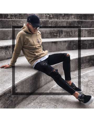 Men's Fashion Slim Skinny Zipper Ripped Jeans Trousers