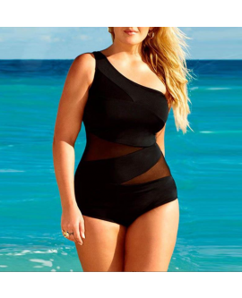 Women Sexy Plus Size Side-strap Swimwear One-piece Bikini