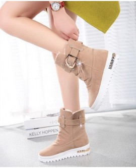 Ladies Flats Fur Lined Ankle Snow Boots