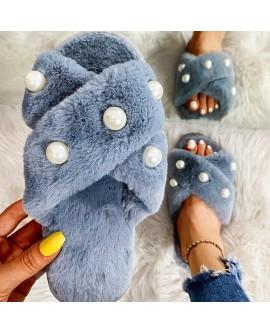 Imitation Pearl Plush Slippers