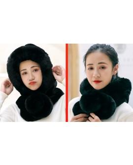 Winter Women  2 in 1 Hooded Hat Scarf