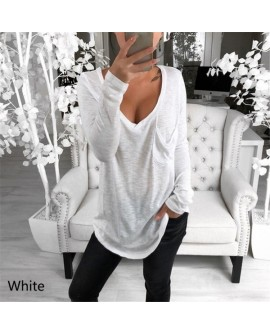 Women V Neck Pocket Top