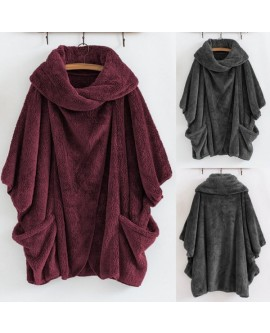 Women Turtleneck Big Pockets Cloak Coats