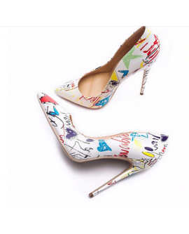 Fashion Painting Pointed Toe High Heels