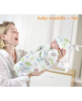 Baby swaddling blanket and hat