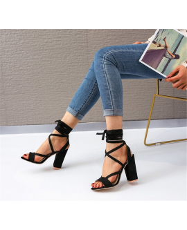 Womens Lace Up Block Mid Heel Ankle Sandal Shoes