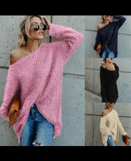 Fashion Off-shoulder Women Bat Sleeve Sweater Pullover