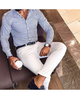Fashion Men Stripe Long Sleeve Slim Shirt Tops