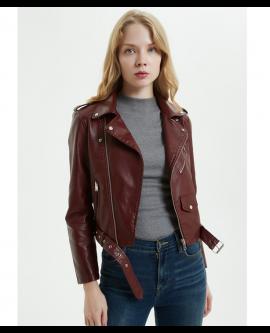 PU Leather Jacket Women Fashion Motorcycle Zipper Ladies Coat