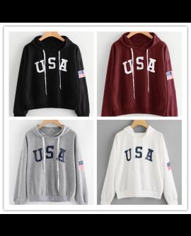 USA Flag Casual Fashion Hoodie Women Winter Tops