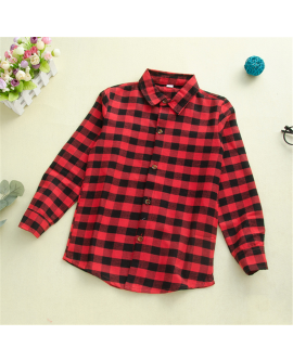 Kids Children Grid Plain Shirt Autumn Fashion Tops