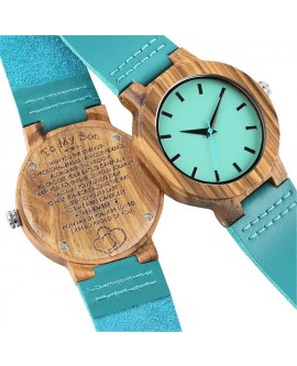 Blue Wood Wrist Watch With PU Leather Strap Retro Gifts
