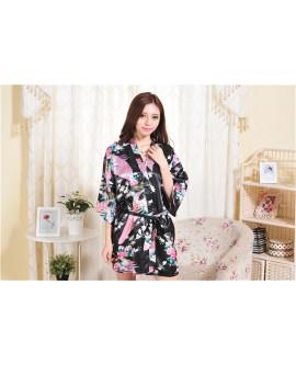 Japan Style Bathrobe Women Sexy Knot Short Bath Silk Dress