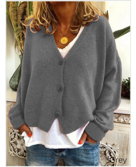 Womens Plain Jumpers Knitted Coat  Button V Neck Loose Sweater Cardigan