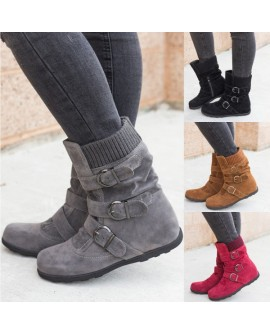 Ladies Casual Flats Buckle Ankle Boots