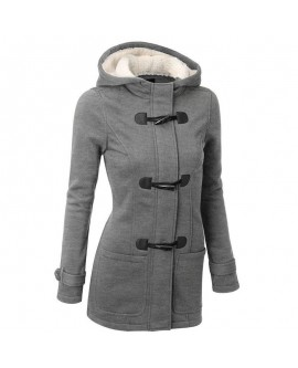 Horn Button Hooded Coat Zipper
