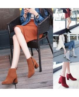 Women Zipper Block Heel Suede Shoes
