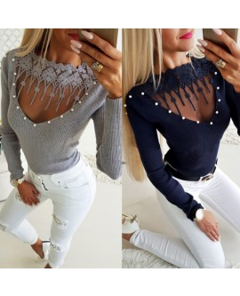 Beads V Neck Long Sleeve Top