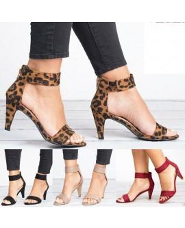 Womens Kitten Mid Heels Ankle Strap Shoes