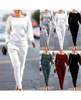 2Pcs Women Ribbed Solid Tracksuit