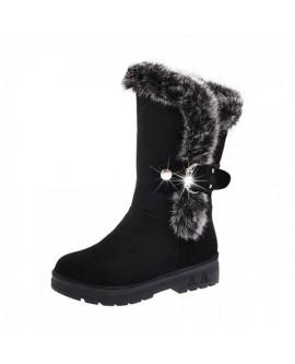 Women Belt Buckle Fluffy Cotton Boots