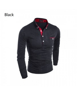Men Wave Point Long Sleeve Polo Shirt