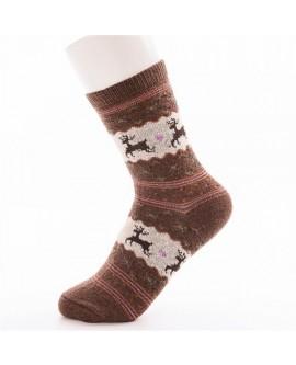 Christmas Deer Moose Design Knit Wool Socks