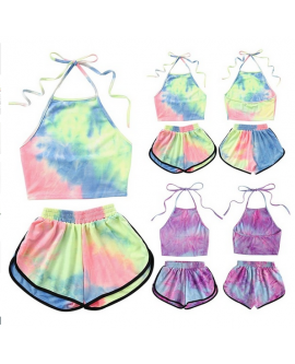Women Fashion Tie-dye Print Shorts Suit