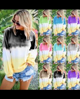 Fashion Gradient Rainbow Autumn Women Tops