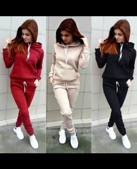 Fleece Women Sportwear Set Pocket Hoodie + Trousers