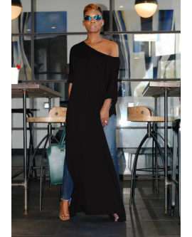 Women Oblique Neck Off Shoulder Split Long Blouse Dress