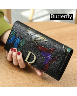 Women Leather Long Wallet Retro Flower Print Purse