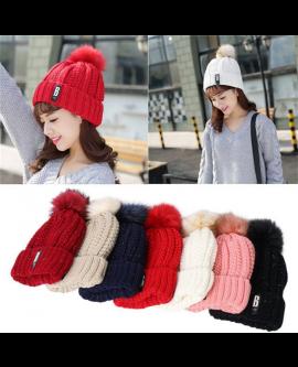Adjustable Winter Wool Knit Cap Warm Fur Hat