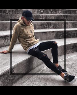 Men's Fashion Slim Skinny Zipper Ripped Jeans Trousers