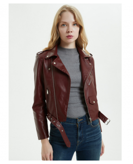 PU Leather Jacket Women Fashion Motorcycle Zipper Ladies Coat