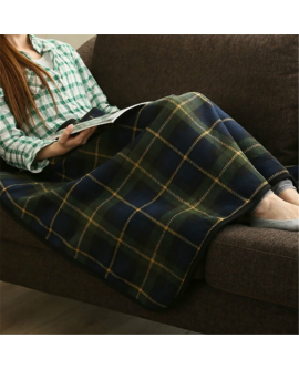Home Winter Double-layer Plaid Blanket Wrap Shawl With Button
