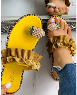 Pineapple Elastic Bands Women Sandals Summer Flat Shoes