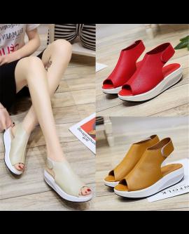 Women Toe Platform Sandals PU Leather Summer Shoes