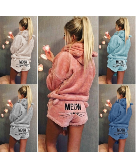 2 Pcs New Women Meow Winter Pyjamas