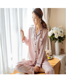 Satin Women Pyjamas Long Sleeves Sleepwear