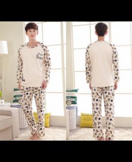 Men Homewear Sleepwear Long Sleeve Cute Pyjamas