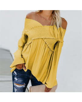 Women Off Shoulder Elastic Long Sleeve Shirt Cross Ruffle Tops